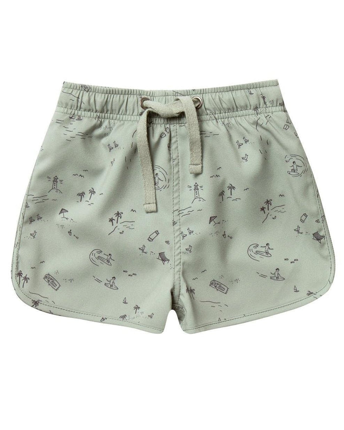 Little rylee + cru boy beach town swim trunk in seafoam