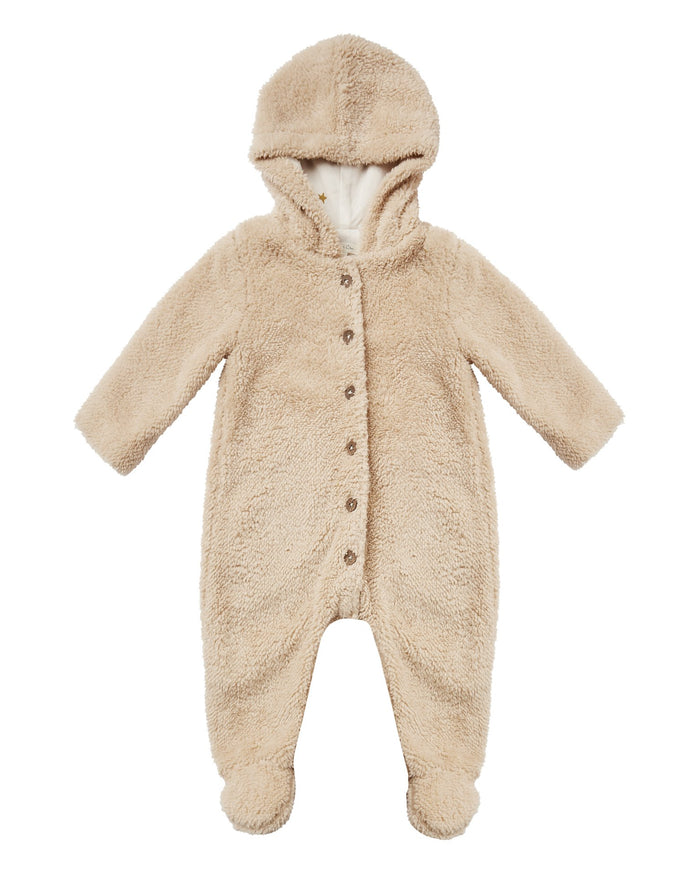 Little rylee + cru baby girl bear suit in oat
