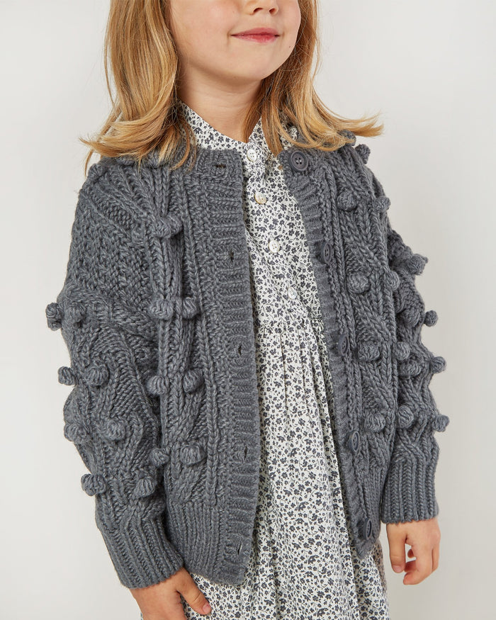 Little rylee + cru baby girl bobble cardigan in washed indigo