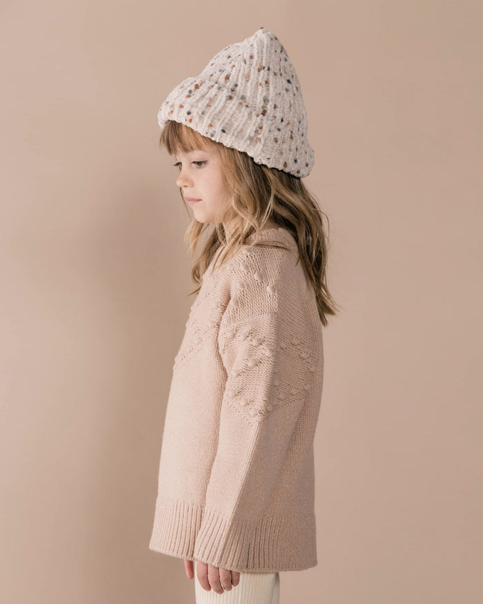Little rylee + cru girl bobble sweater in rose