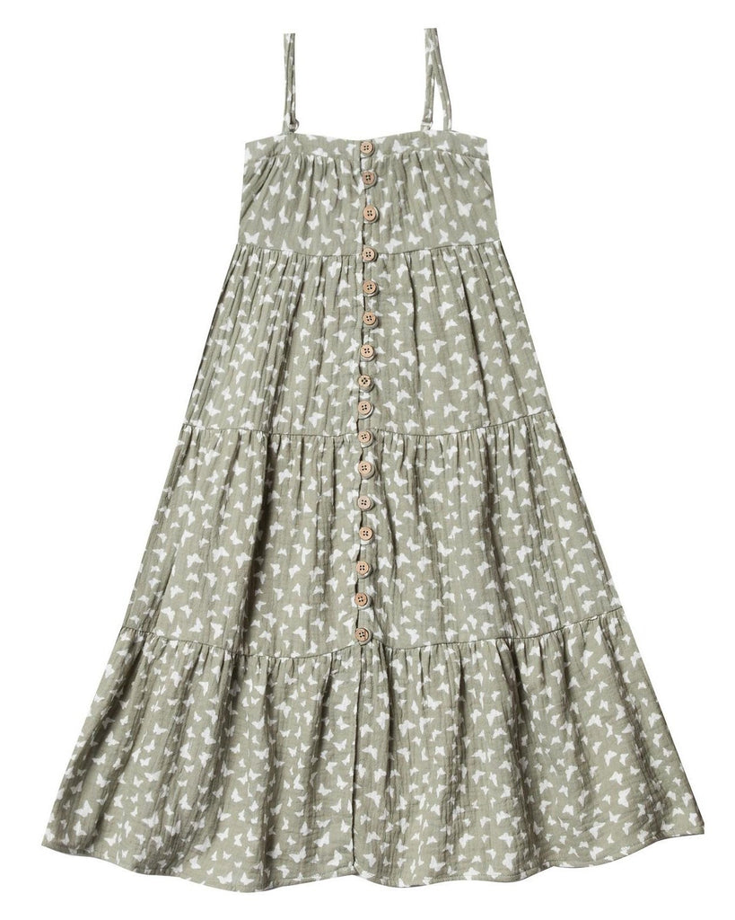 Little rylee + cru girl butterfly tiered maxi dress in seafoam