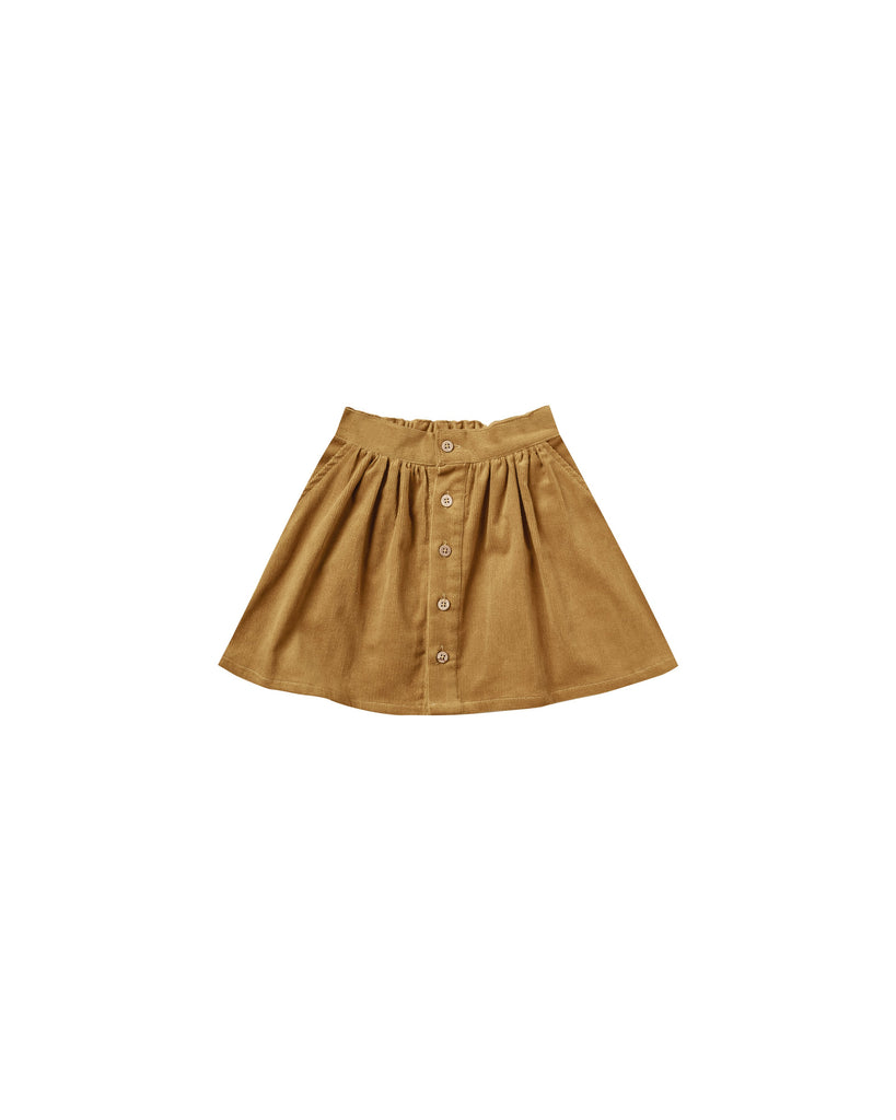 Little rylee + cru girl button front mini skirt in goldenrod