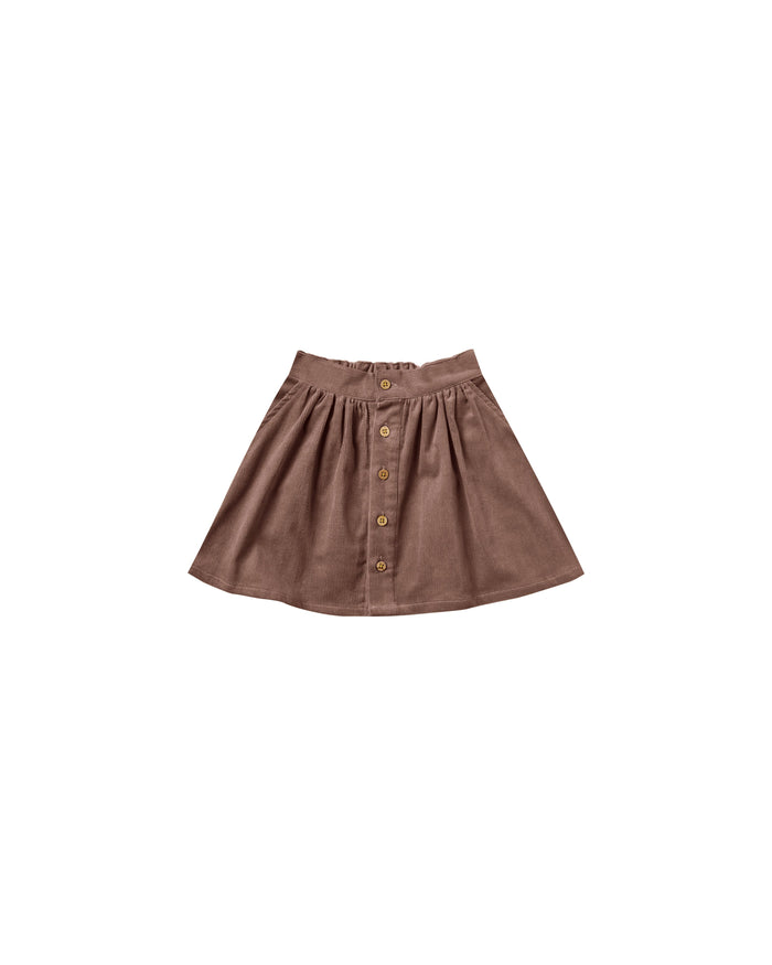 Little rylee + cru girl button front mini skirt in wine