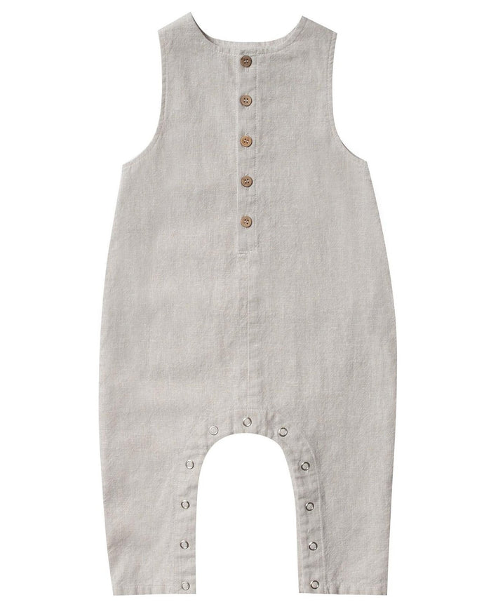 Little rylee + cru baby girl button jumpsuit in silver