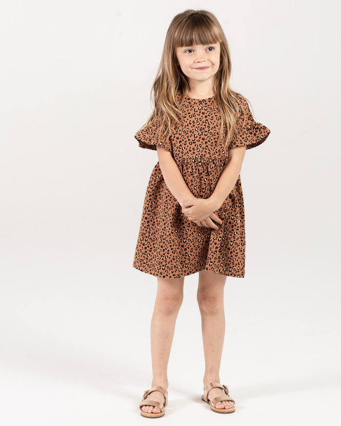 Little rylee + cru baby girl cheetah babydoll dress in bronze