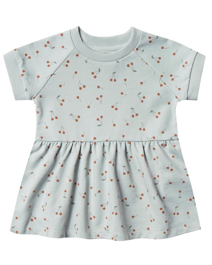 Little rylee + cru baby girl cherries raglan dress in sky