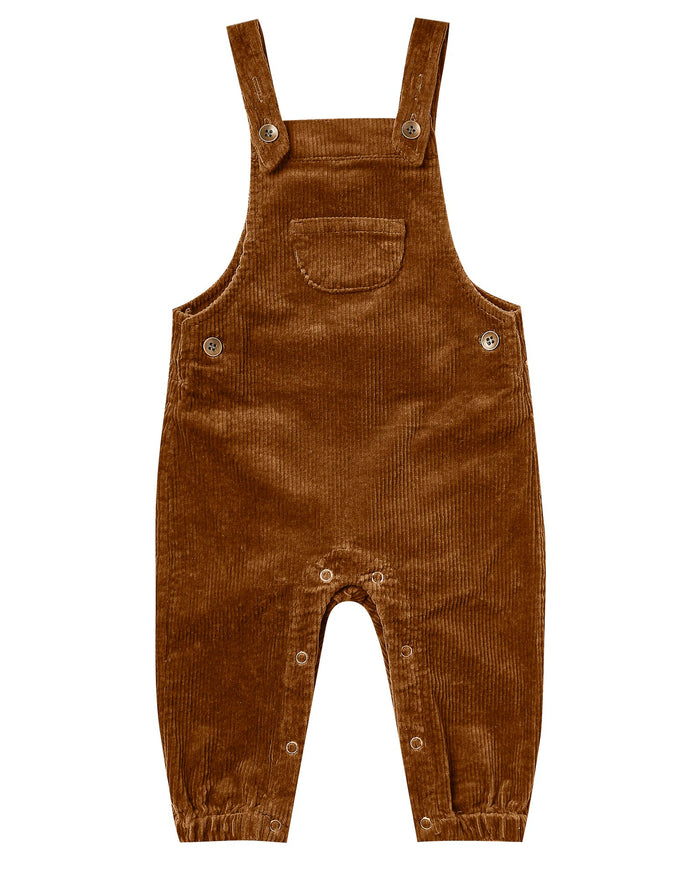 Little rylee + cru baby girl corduroy overall in cinnamon