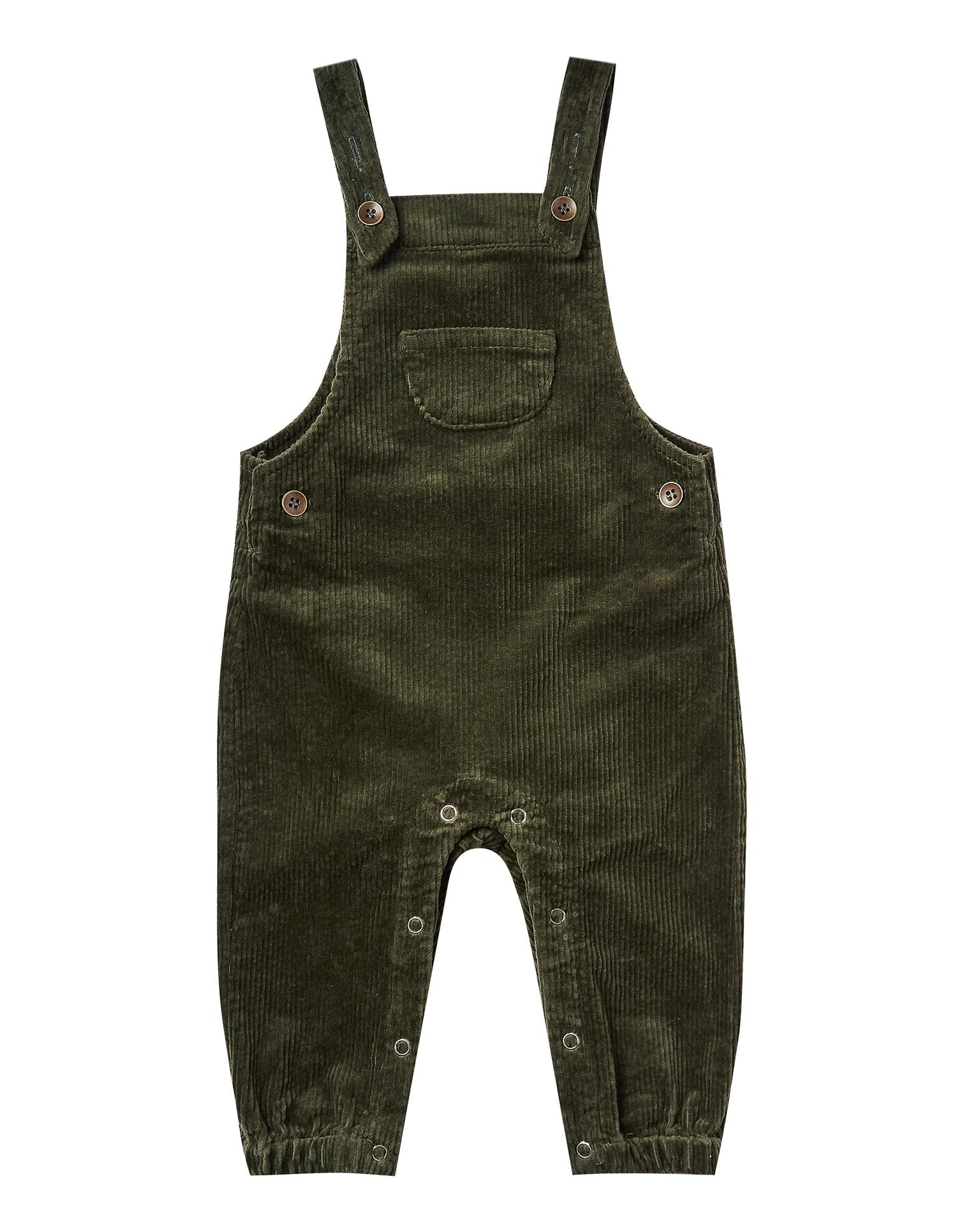 Little rylee + cru baby girl corduroy overall in forest