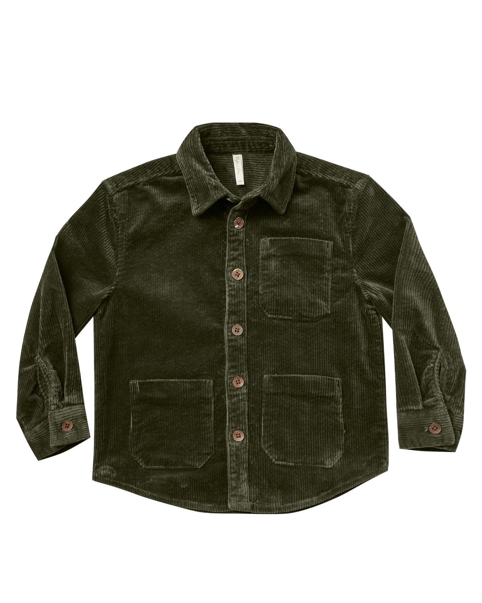 Little rylee + cru girl corduroy shirt in forest