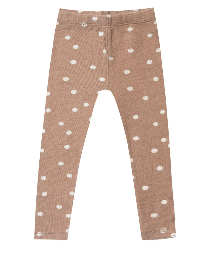 Little rylee + cru girl dot knit legging in truffle + pale pink