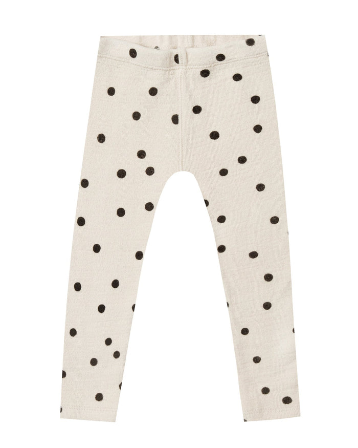 Little rylee + cru girl dot knit legging in wheat + black