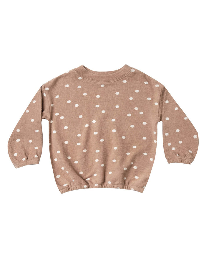 Little rylee + cru girl dot pullover sweater in truffle + pale pink
