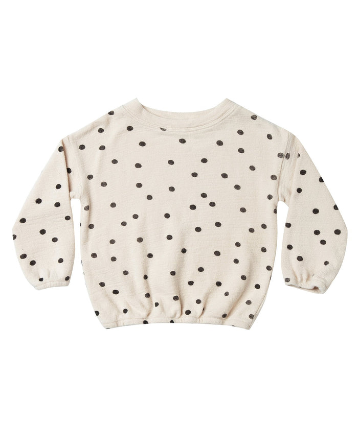 Little rylee + cru girl dot pullover sweater in wheat + black