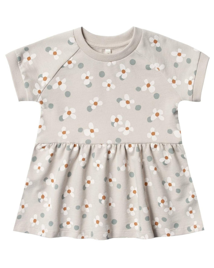 Little rylee + cru baby girl dotty flowers raglan dress in dove