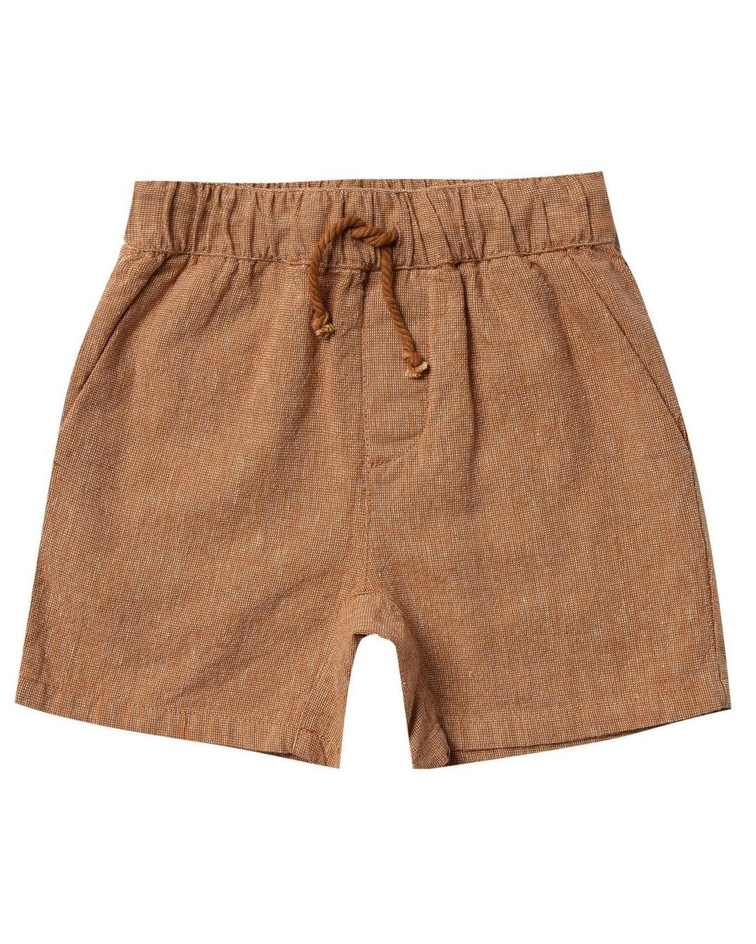 Little rylee + cru boy drawstring short in bronze