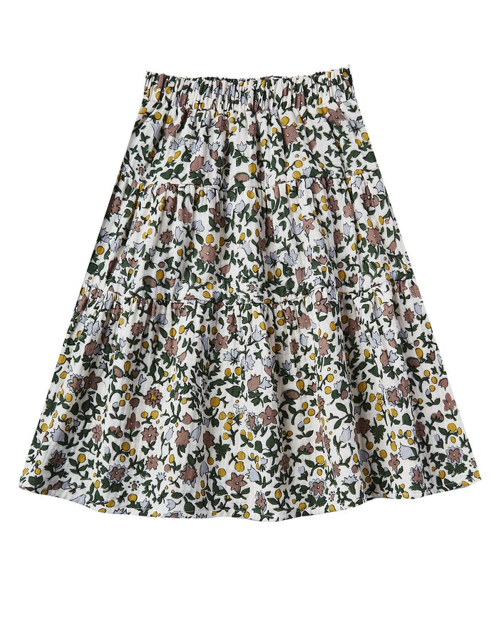 Little rylee + cru girl enchanted garden tiered midi skirt in ivory