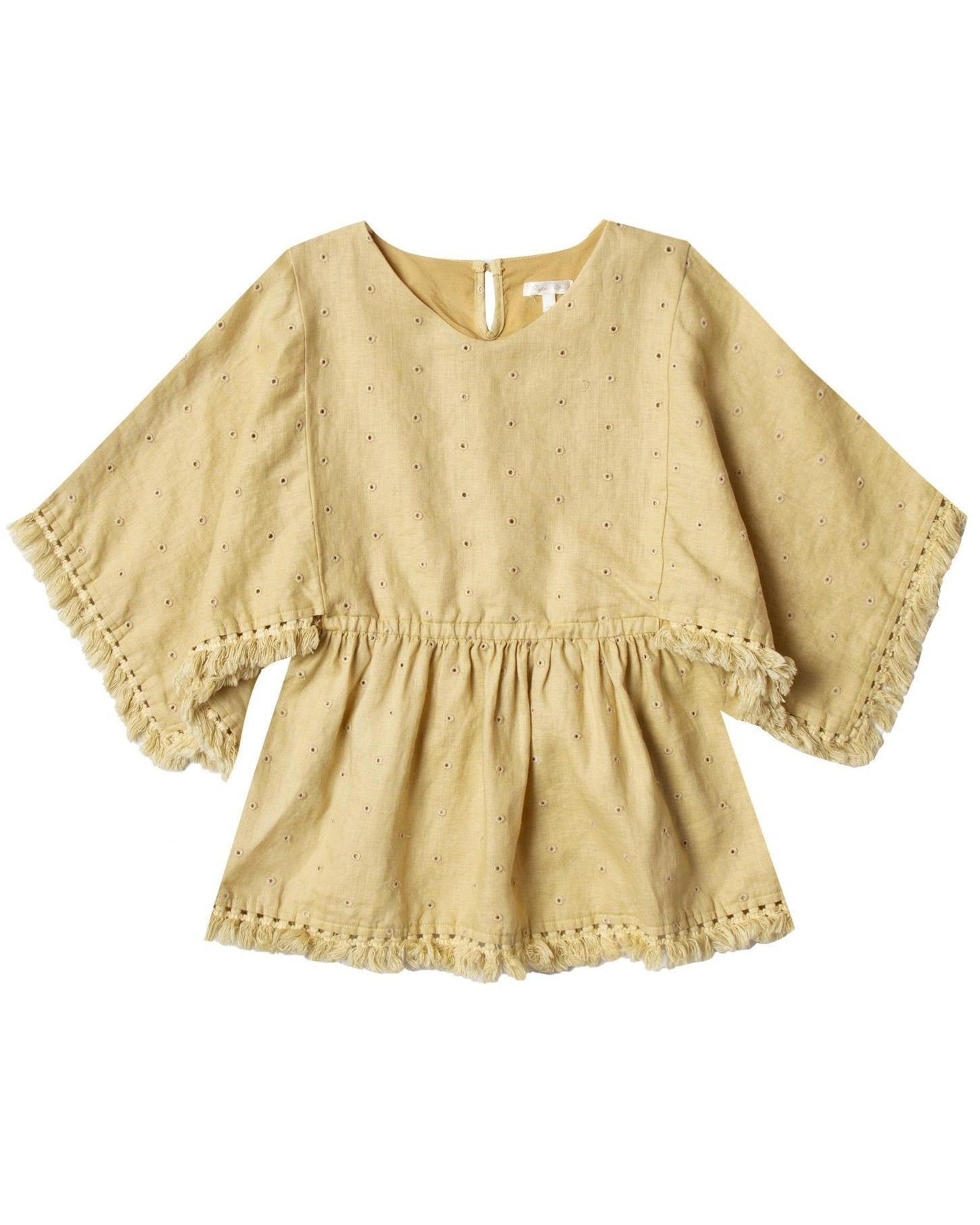 Little rylee + cru girl eyelet beach kaftan in citron
