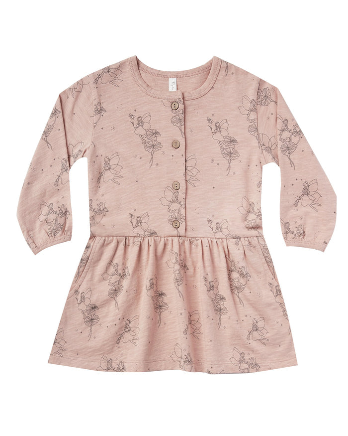 Little rylee + cru girl fairy button up dress in rose