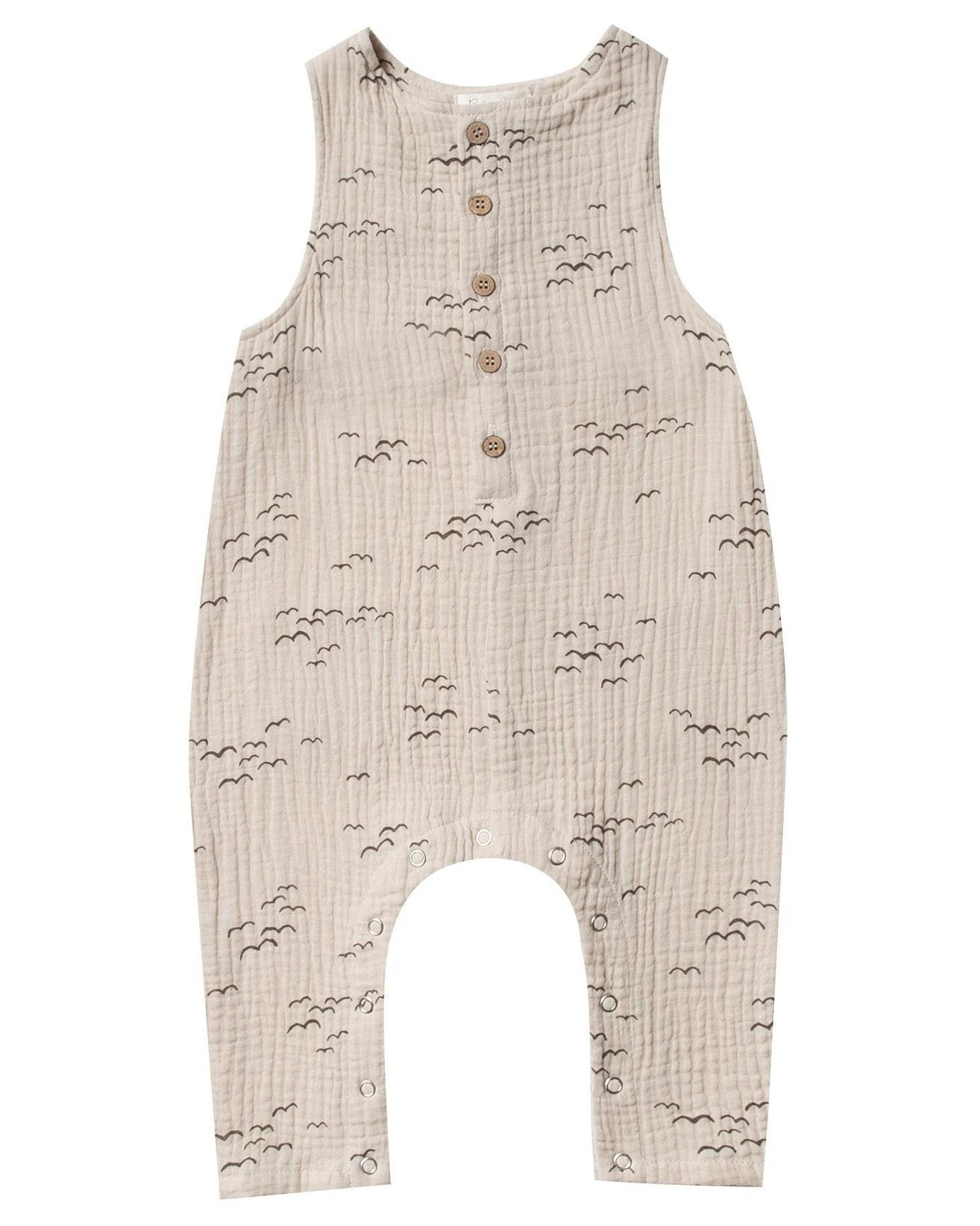 Little rylee + cru baby girl flock button jumpsuit in natural
