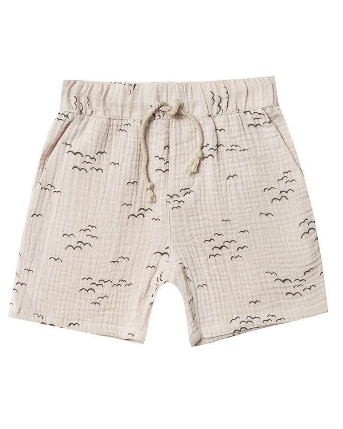 Little rylee + cru boy flock drawstring short in natural