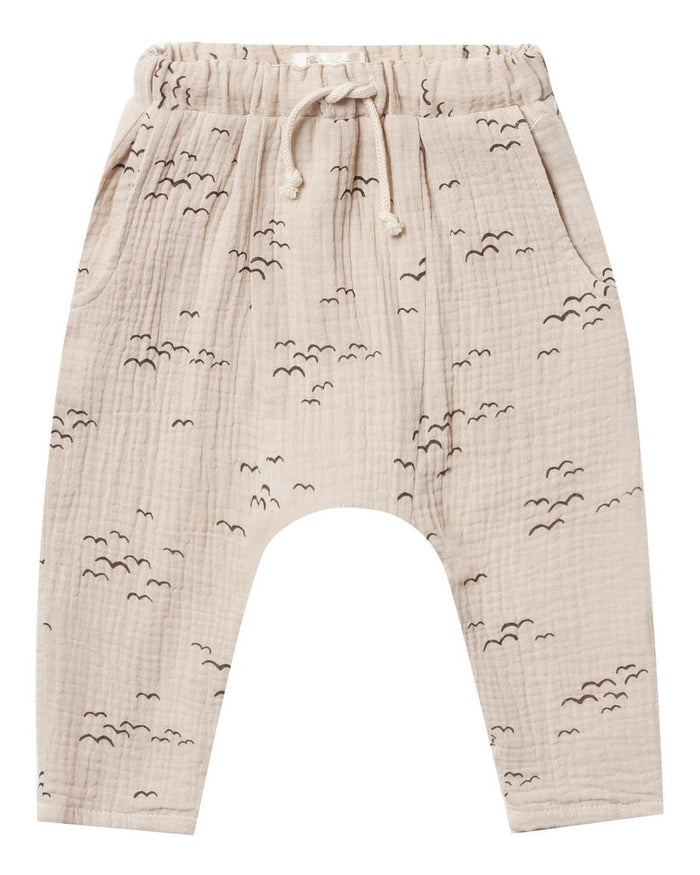 Little rylee + cru baby boy flock hawthorn trouser in natural