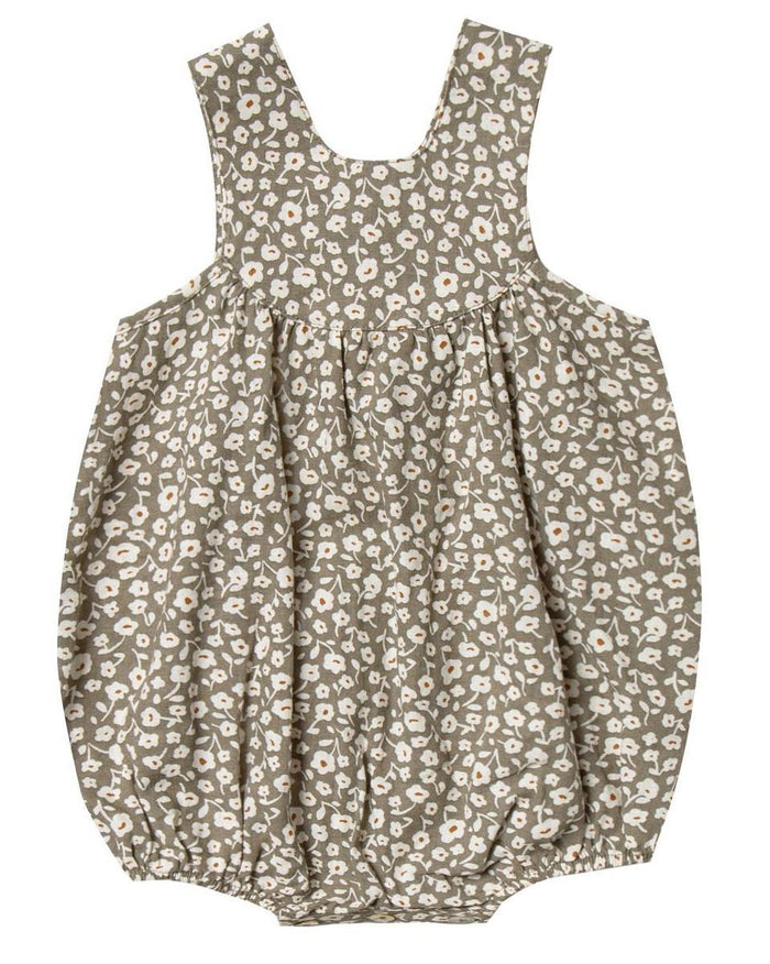 Little rylee + cru baby girl flora june romper in olive