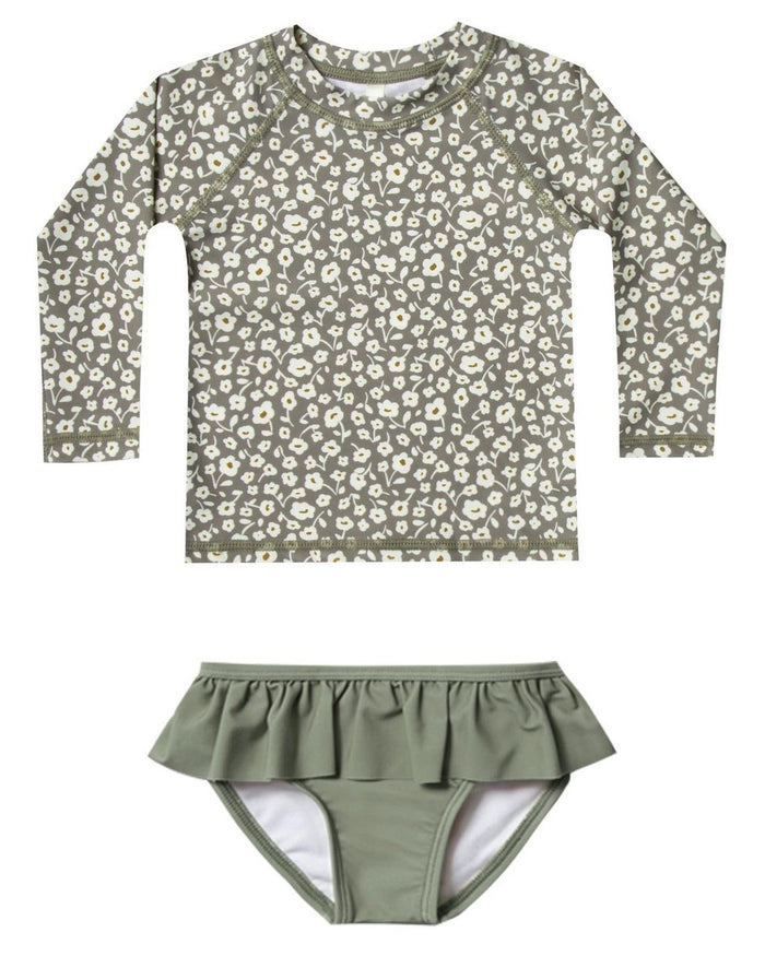 Little rylee + cru baby girl flora rashguard set in olive