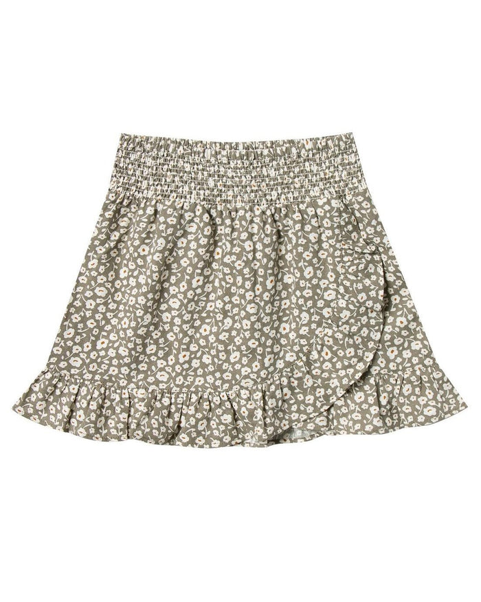 Little rylee + cru girl flora wrap ruffle skirt in olive