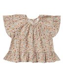 Little rylee + cru baby girl flower field butterfly top in natural