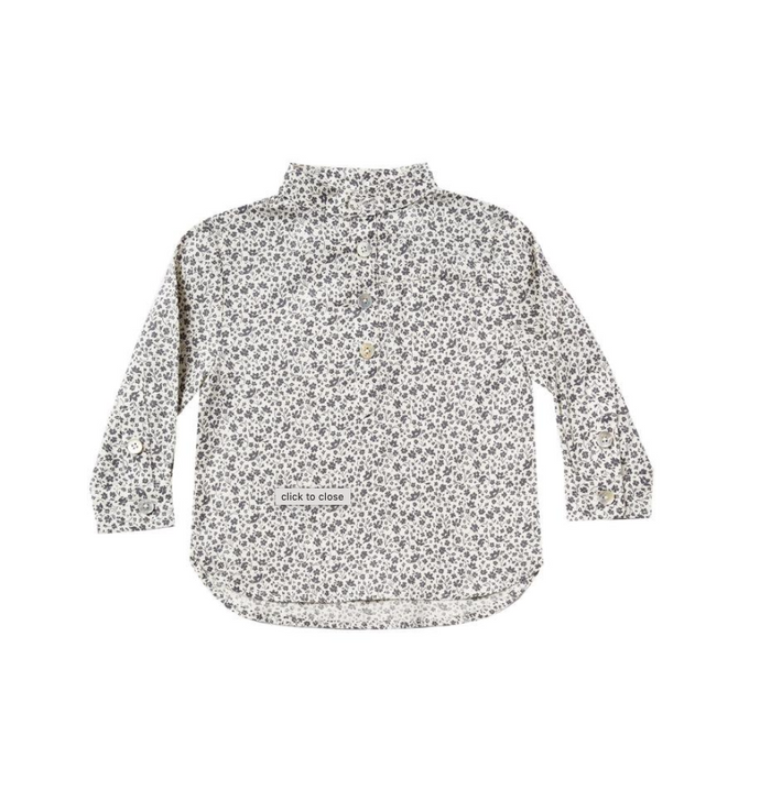 Little rylee + cru girl flower field mason shirt in ivory