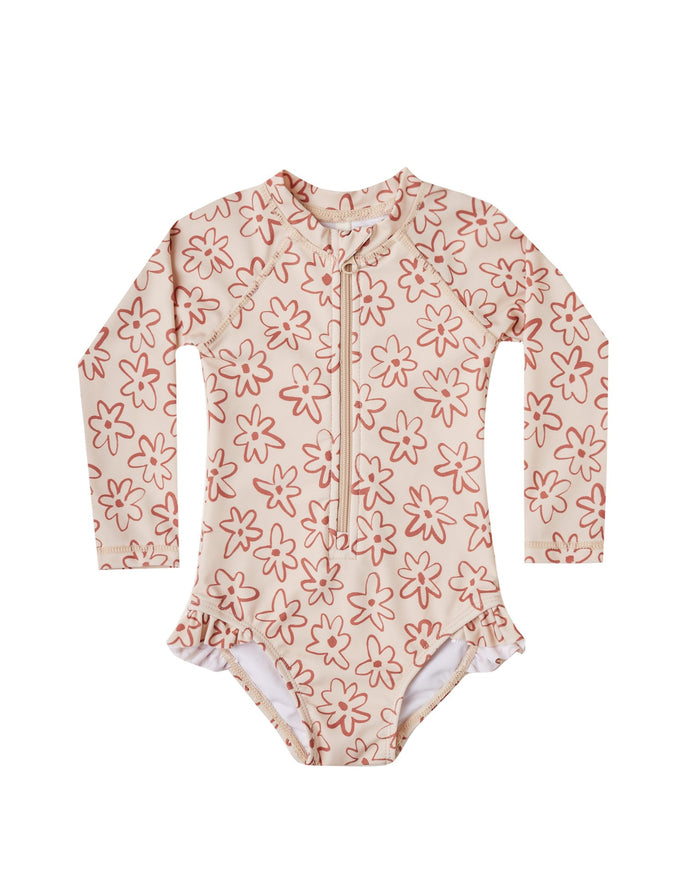 Little rylee + cru girl flower outline rashguard one-piece