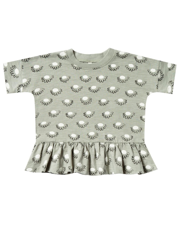 Little rylee + cru baby girl flower power peplum in seafoam
