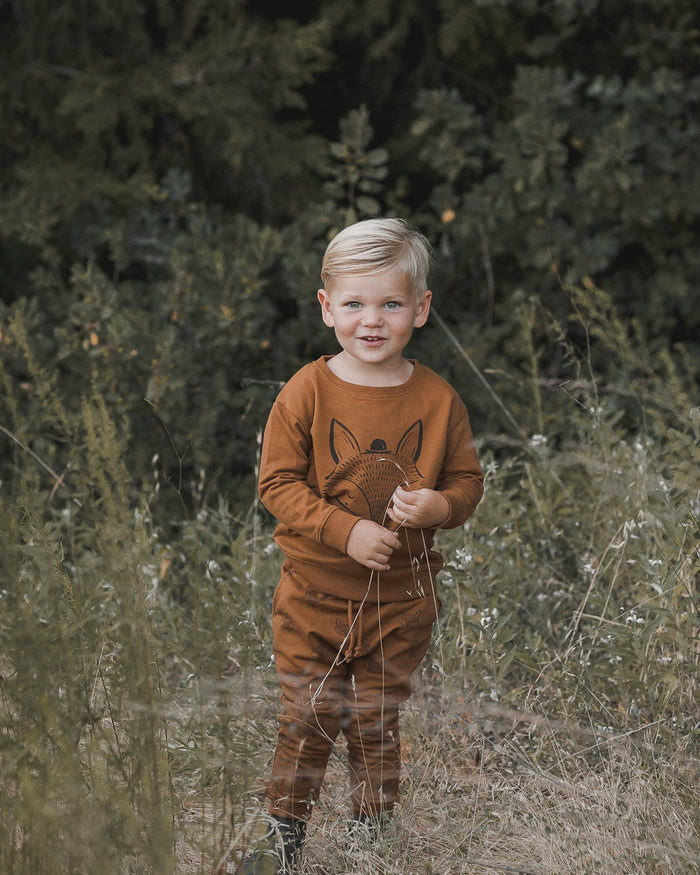 Little rylee + cru boy fox sweatshirt in cinnamon