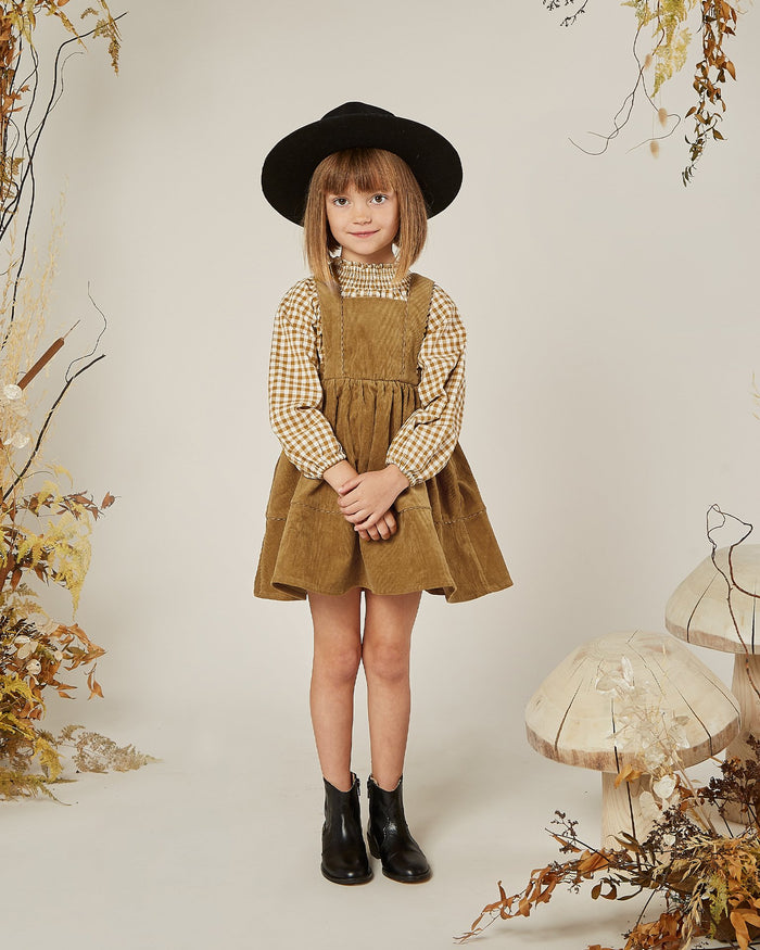 Little rylee + cru baby girl gingham audrey blouse in goldenrod