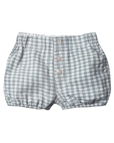 Little rylee + cru baby girl gingham button short in sea