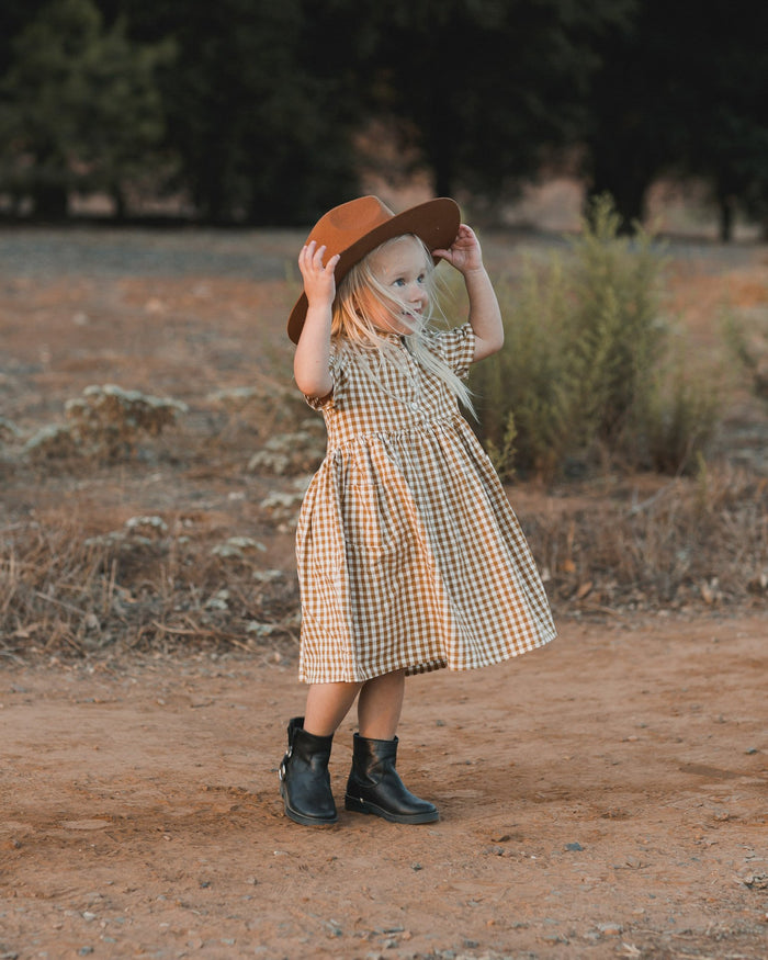 Little rylee + cru baby girl gingham esme dress in goldenrod