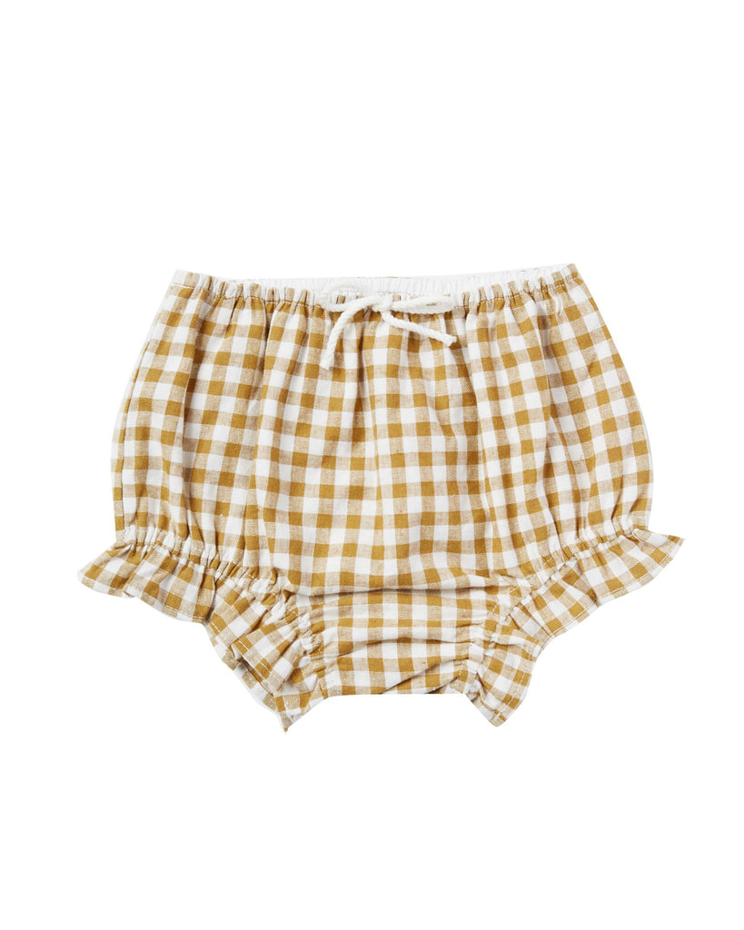 Little rylee + cru baby girl gingham flutter bloomer in goldenrod