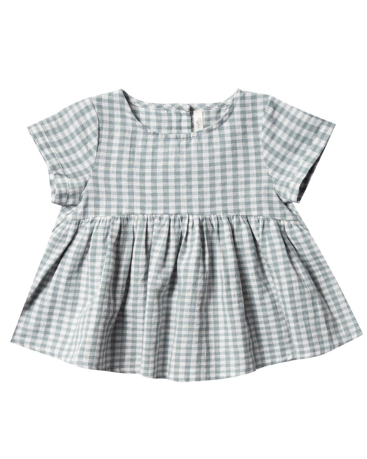 Little rylee + cru baby girl gingham jane blouse in sea