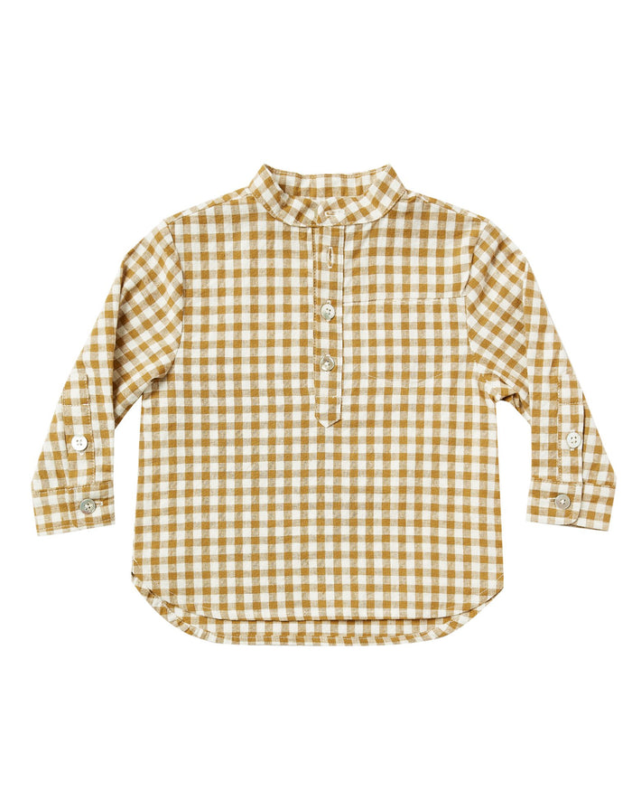 Little rylee + cru girl gingham mason shirt in goldenrod