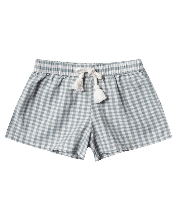 Little rylee + cru girl gingham solana short in sea