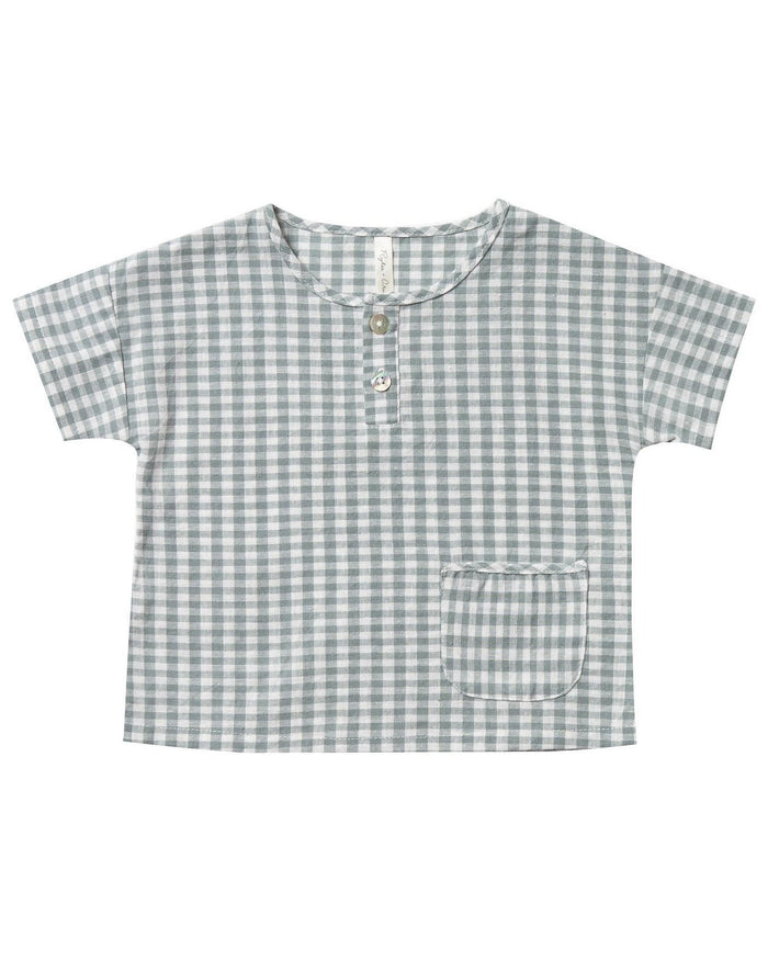 Little rylee + cru boy gingham woven henley tee in sea