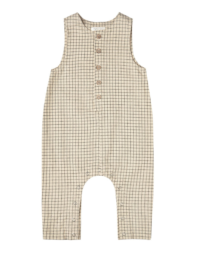 Little rylee + cru baby girl grid button jumpsuit in butter
