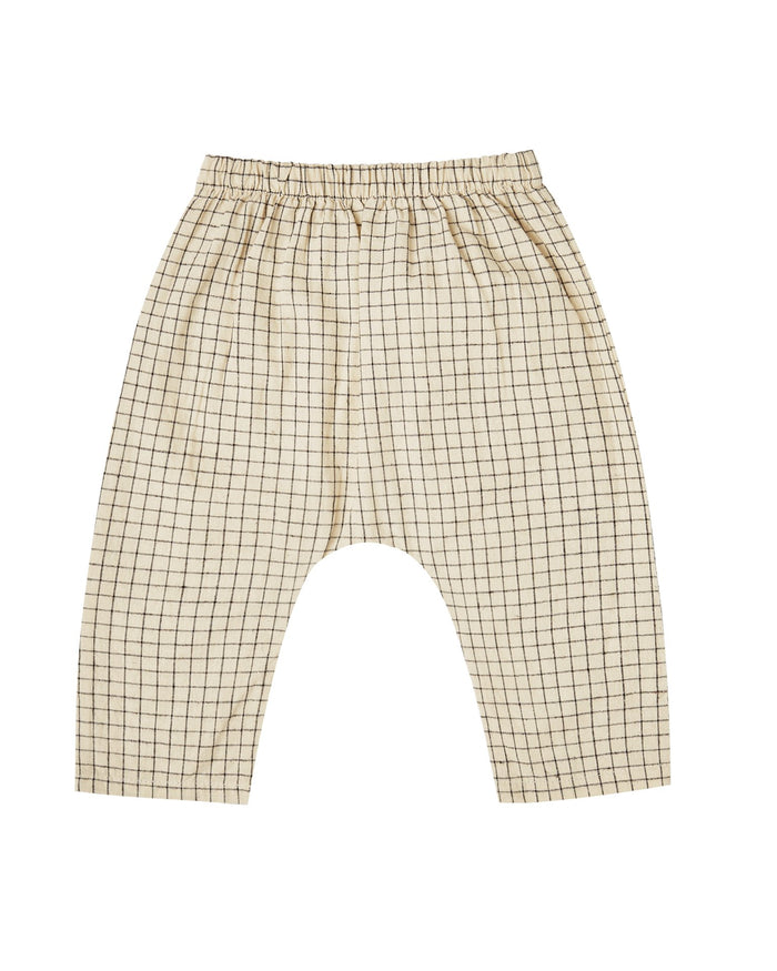 Little rylee + cru baby girl grid orion harem pant in butter
