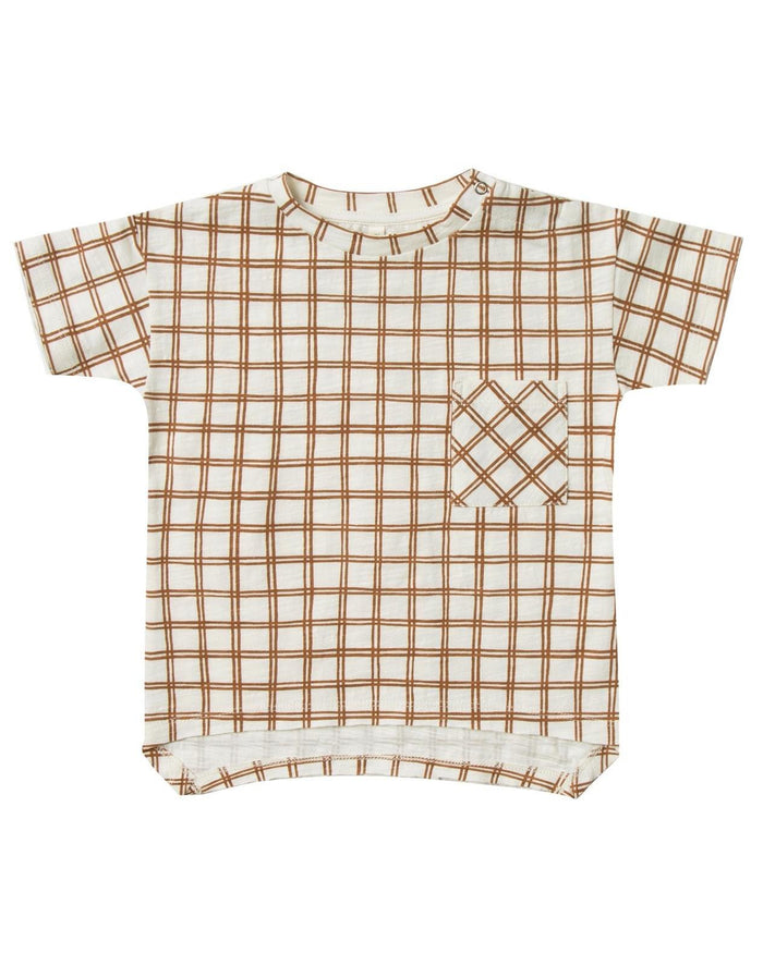 Little rylee + cru baby boy grid raw edge tee in bronze
