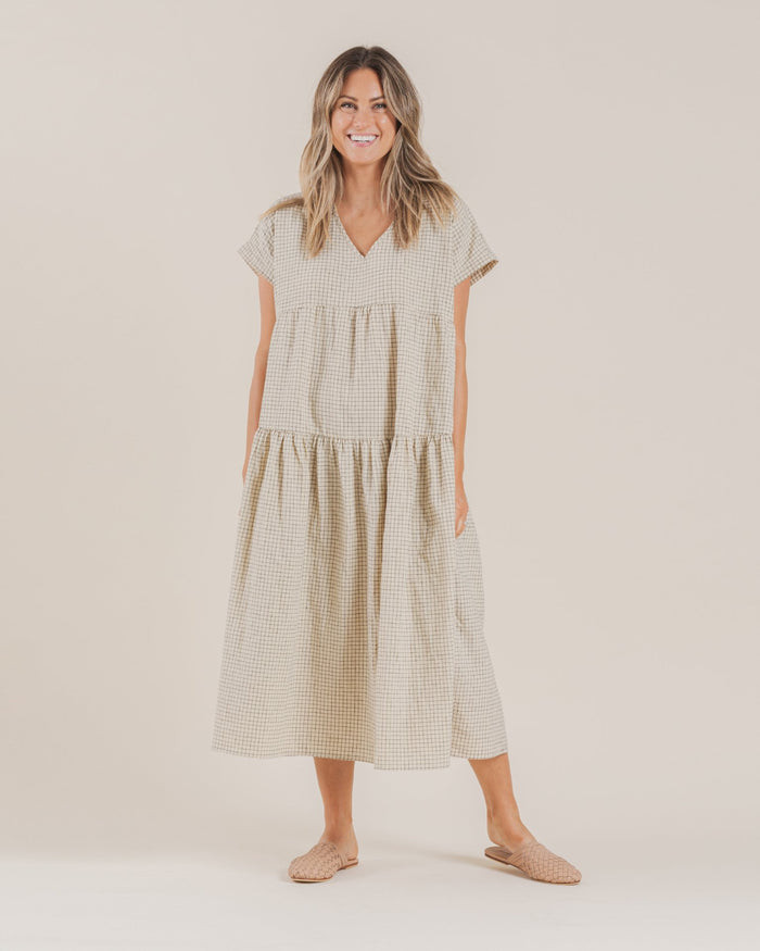 Little rylee + cru women grid vienna dress in butter