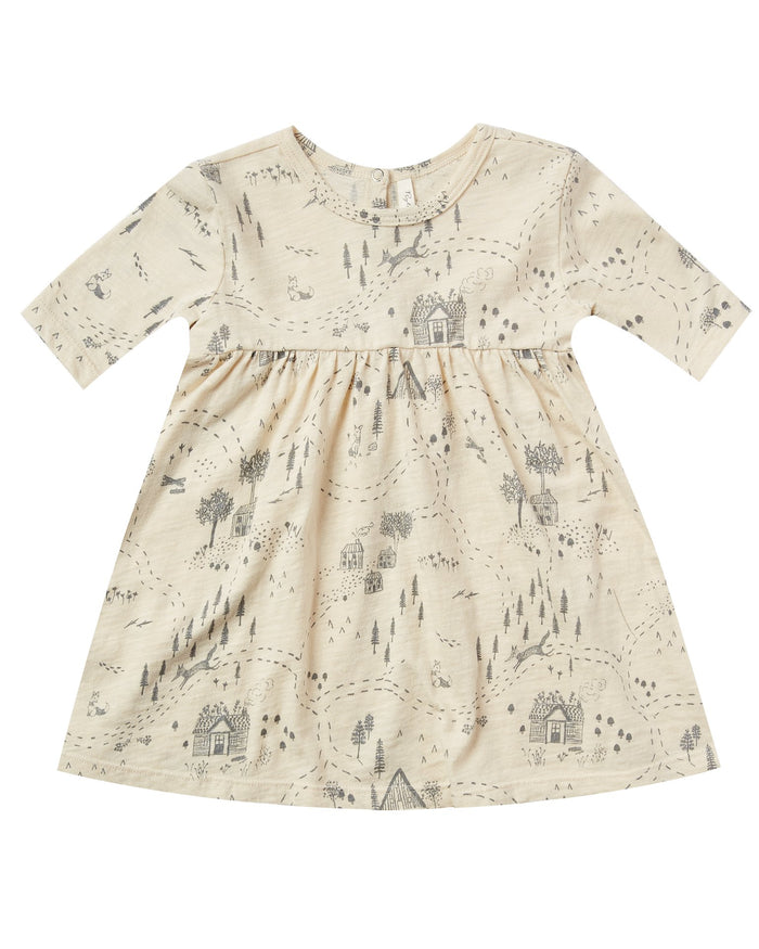 Little rylee + cru baby girl into the woods finn dress in ivory