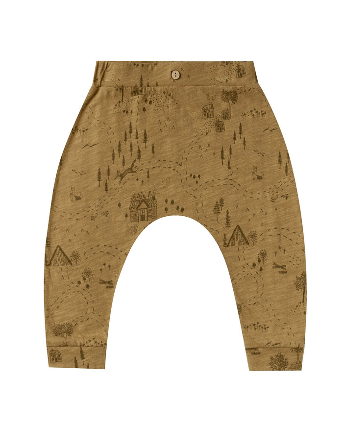 Little rylee + cru baby girl into the woods slouch pant in goldenrod