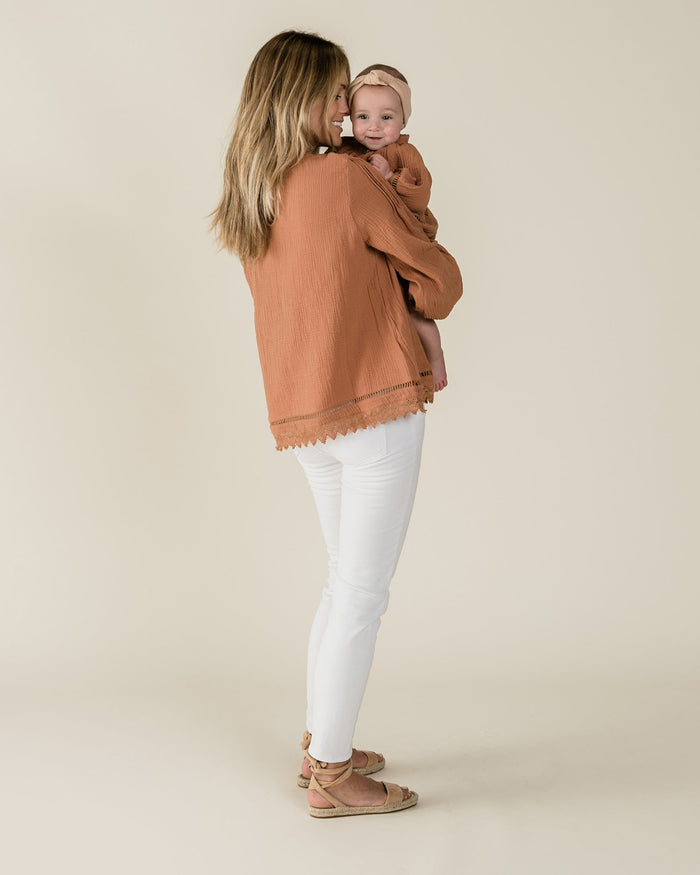 Little rylee + cru women xs kalo blouse in passionfruit