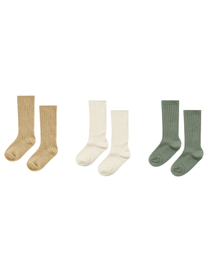 Little rylee + cru accessories knee socks in almond + natural + fern