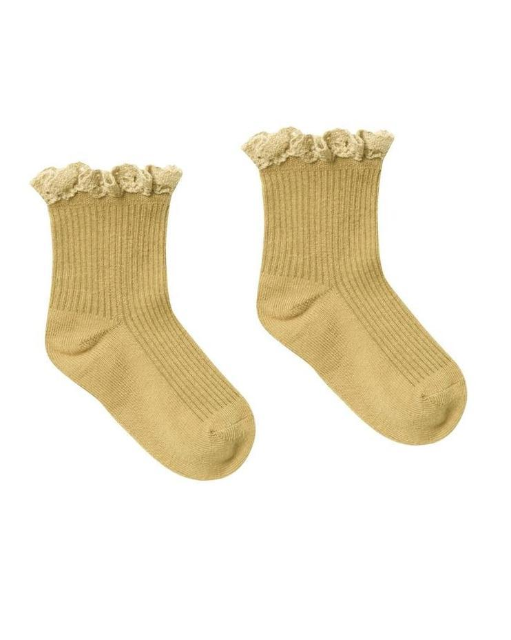 Little rylee + cru accessories lace trim socks in citron
